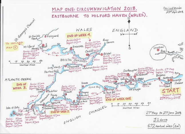 May 27th departure MAP ONE Circumnavigation.