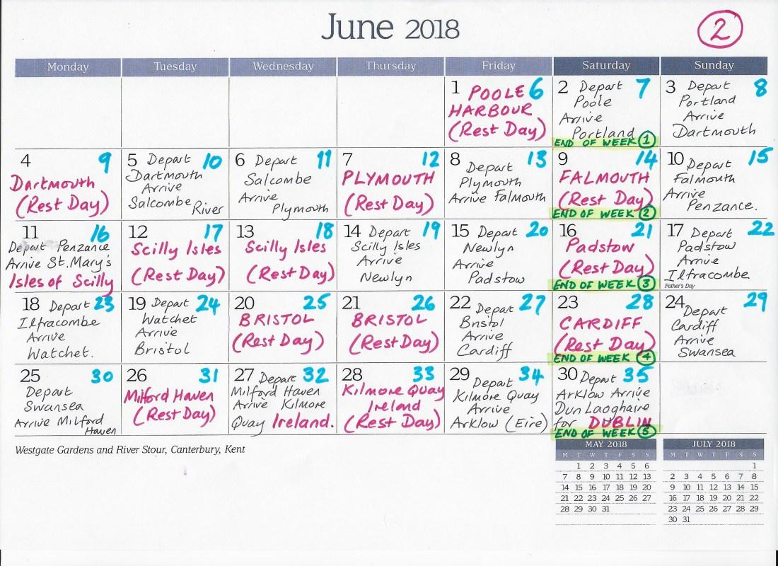 Revised Calendar Circumnavigation June 2018
