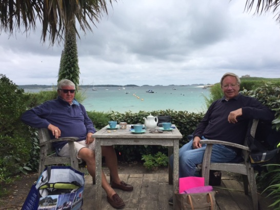 Mike and toby taking afternoon tea at Old Grimsby sound, the ruin Cafe,